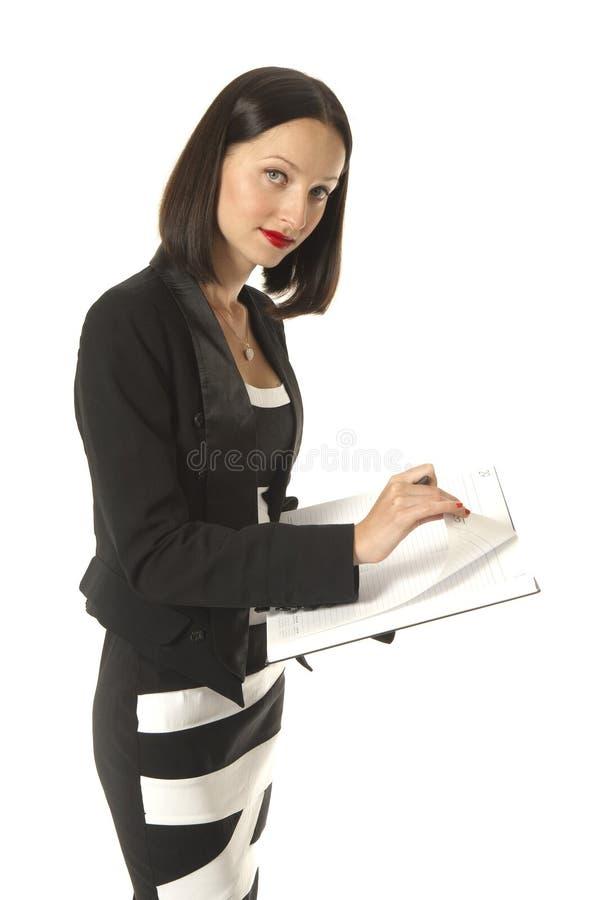 Femelle de corporation avec l'agenda photos stock