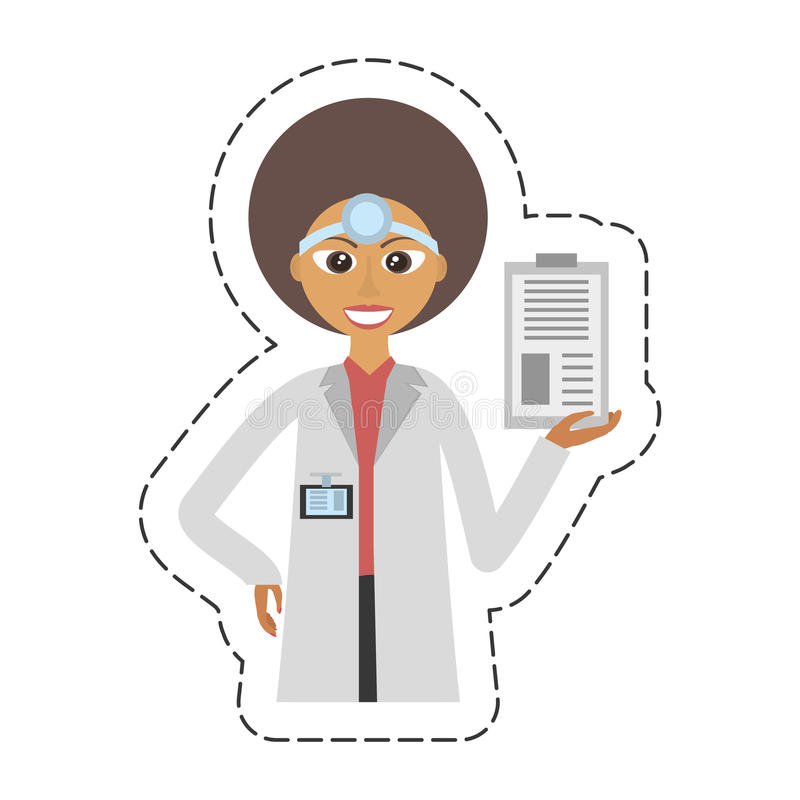 femelle de docteur de bande dessinée avec l'agrafe et le headmirror illustration de vecteur
