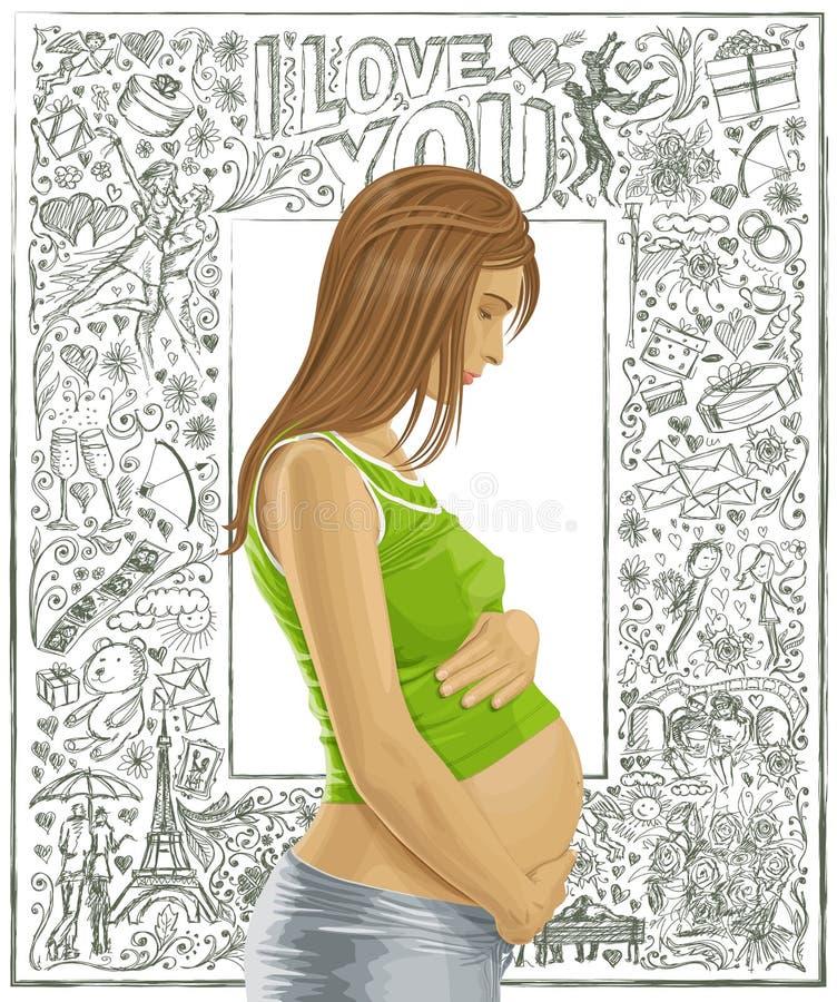 Femelle enceinte avec le ventre sur le fond d'amour illustration de vecteur