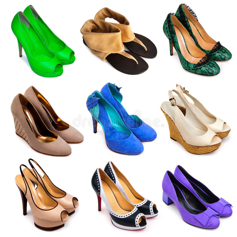 Femelle multicolore shoes-12 photographie stock libre de droits