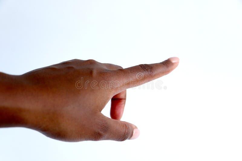 Femelle, pointage indien de main d'africain noir image stock