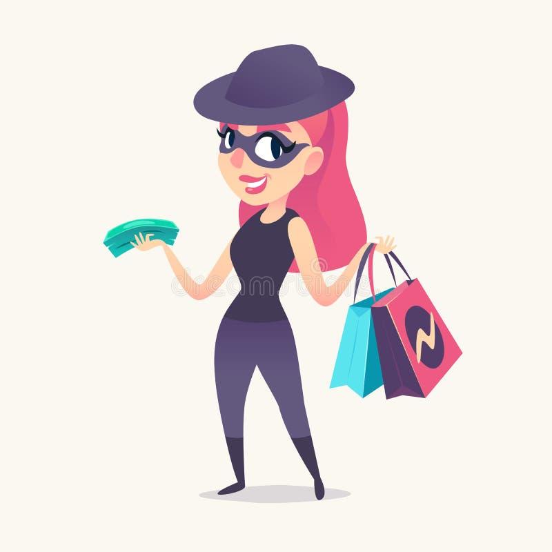 Femelle rousse de sourire d'espion comme client de mystère dans le masque, le chapeau noir et le costume foncé, avec les achats e photo libre de droits