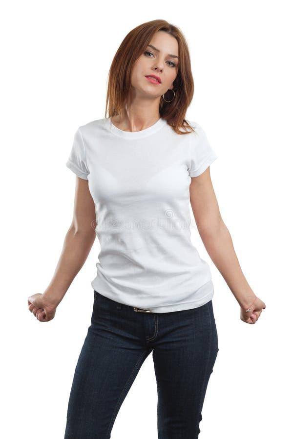 Femelle sexy avec la chemise blanche blanc image stock