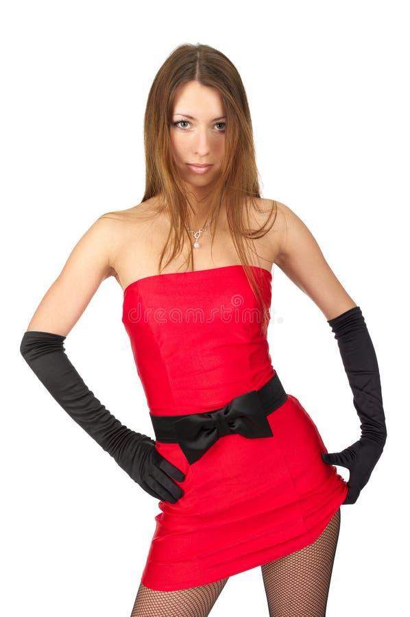 Femelle sexy dans peu de robe rouge photos libres de droits