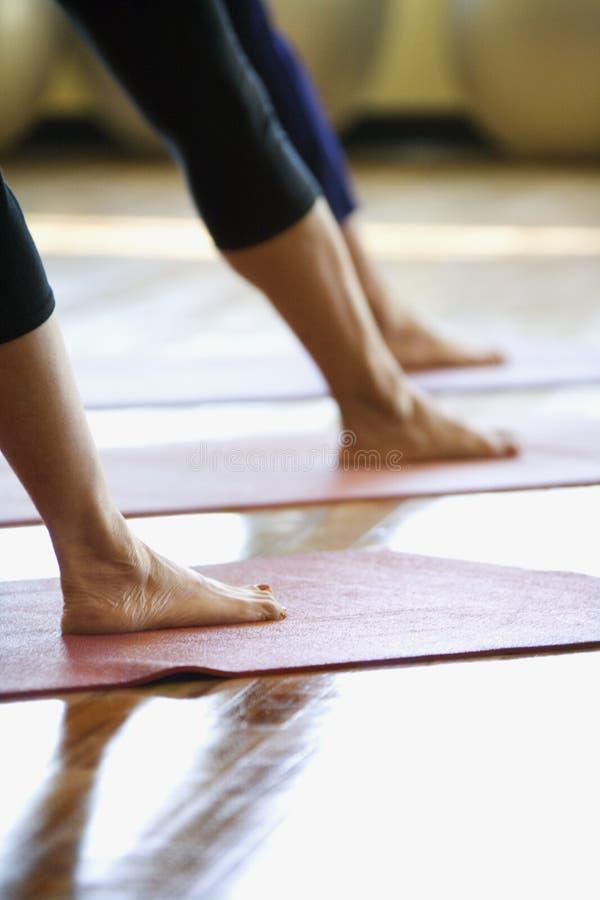 Femelles adultes dans la classe de yoga. photographie stock libre de droits