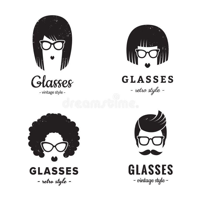 Femenino del vector del vintage del logotipo de las lentes y masculino determinados r ilustración del vector