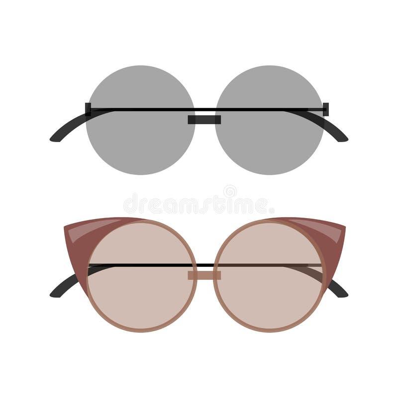 Femenino elegante alrededor y gafas de sol del Gato-ojo fijadas stock de ilustración