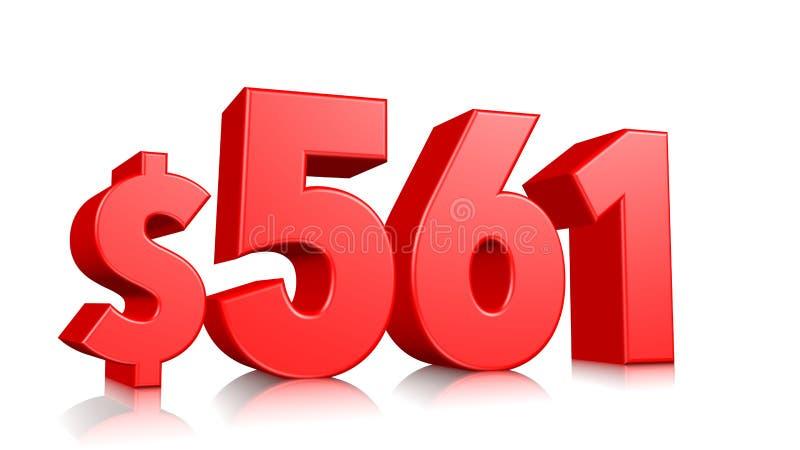 561$ femhundra sextioett prissymbol rött textnummer 3d att framföra med dollartecknet på vit bakgrund royaltyfri illustrationer