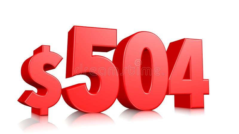 504$ femhundra symbol för fyra pris rött textnummer 3d att framföra med dollartecknet på vit bakgrund royaltyfri illustrationer