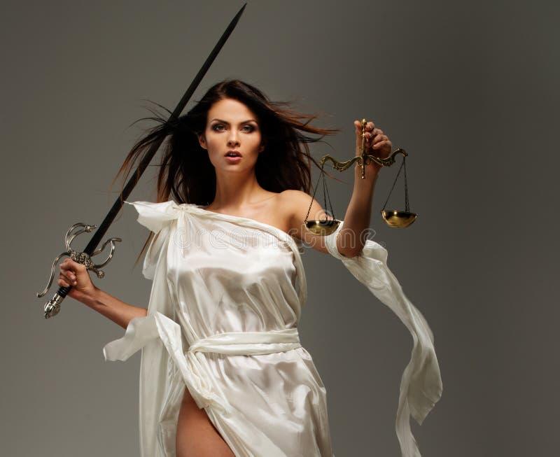 Femida, deusa de justiça foto de stock