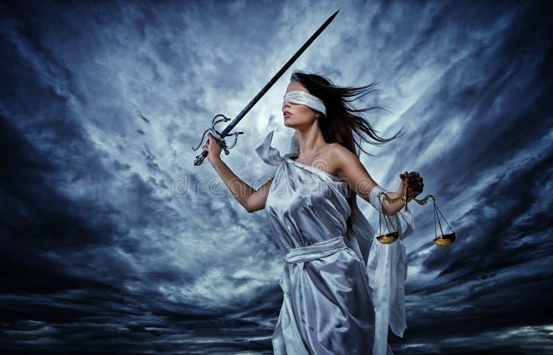 Femida, Godin van Rechtvaardigheid stock foto