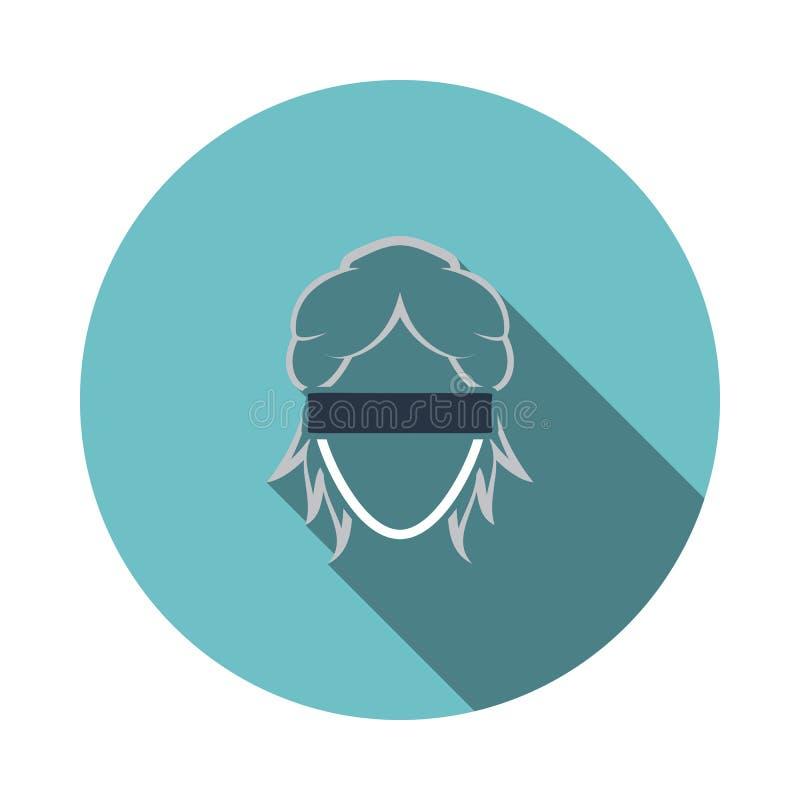 Femida head icon. Flat Design Circle With Long Shadow. Vector Illustration royalty free illustration