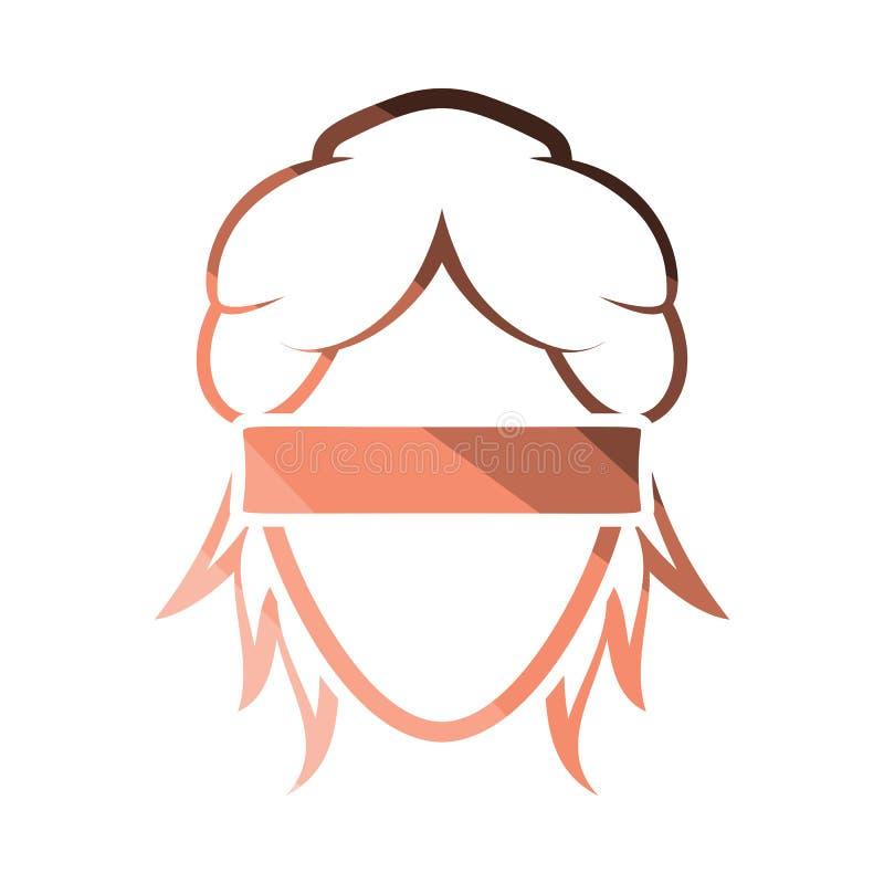 Femida head icon. Flat color design. Vector illustration royalty free illustration