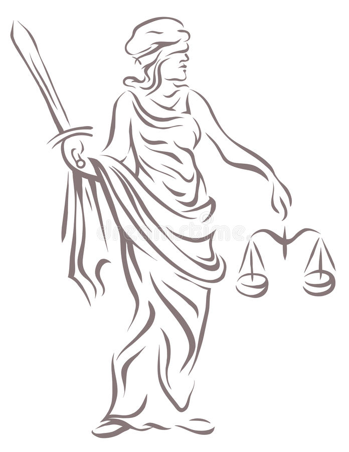 Femida with with a sword and scales. Lady justice, goddess and symbol of justice royalty free illustration