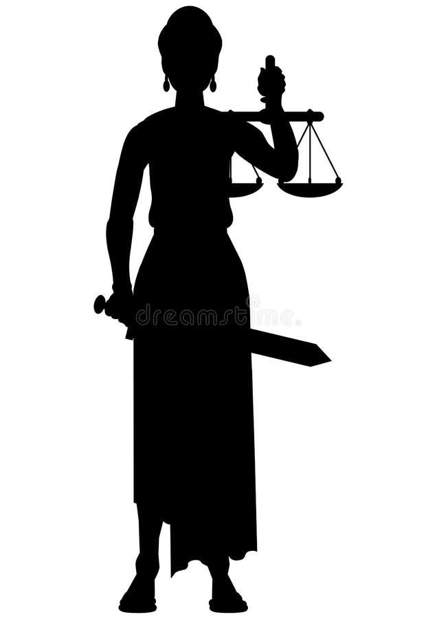 Femida (themis) silhouette. A goddess of justice vector illustration