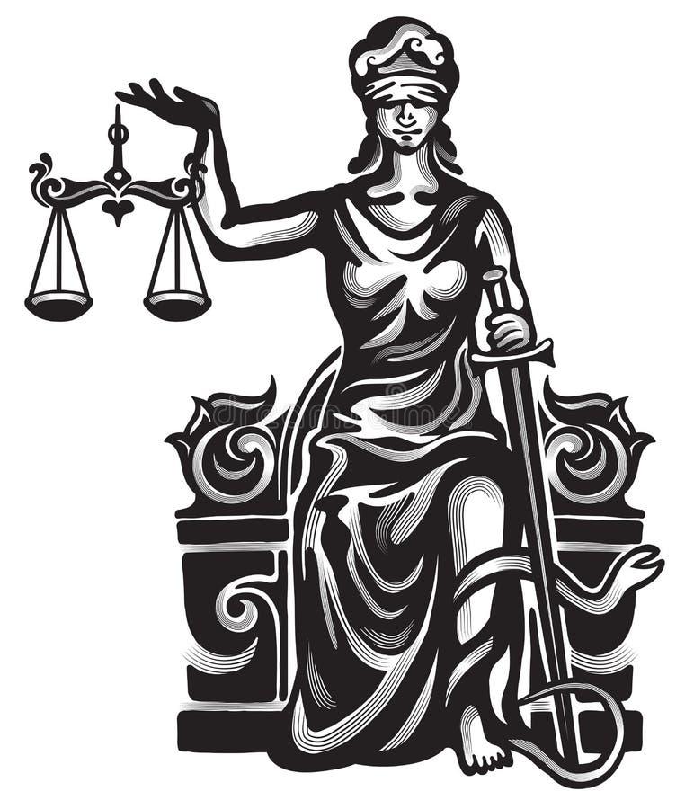 Femida vector illustration. Femida - lady justice, graphic vector illustration royalty free illustration