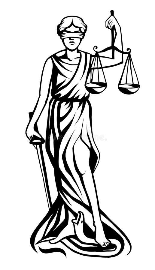 Femida vector illustration. Femida - lady justice, graphic vector illustration stock illustration