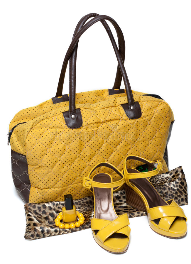 Feminine Bag And Pair Yellow Feminine Loafers Stock Photography