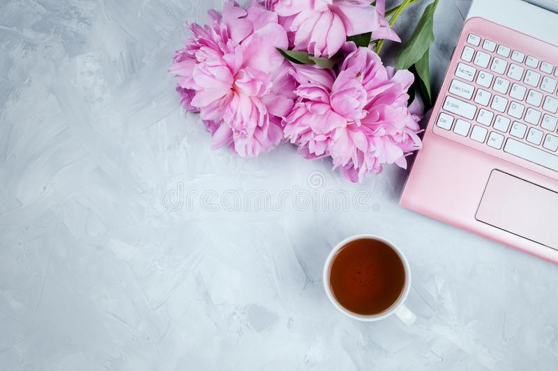 Feminine business mockup with pink laptop, peonies bouquet and cup of warm tea. Flatlay on cement background with copyspace royalty free stock images
