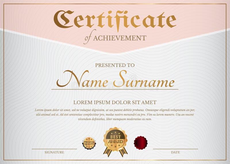 Feminine Certificate Diploma in Rose Gold vector illustratie
