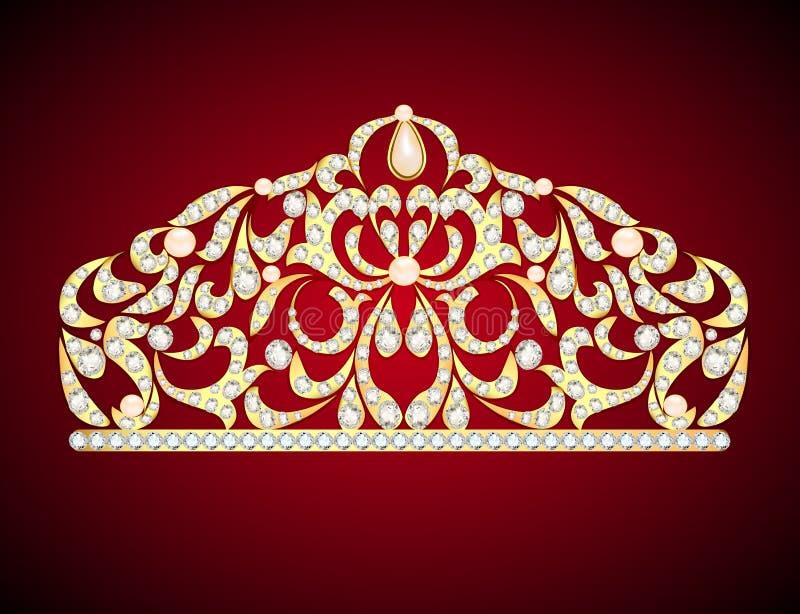 feminine decorative tiara crown with jewels stock illustration
