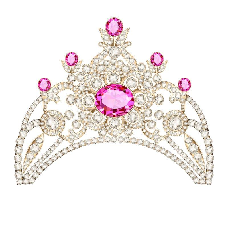 feminine decorative tiara crown with jewels royalty free illustration