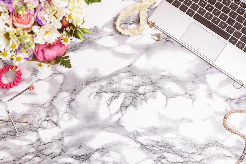 Feminine Desk Workspace With Laptop Stock Image Image