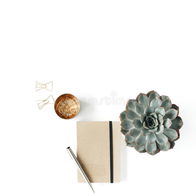 Feminine desk workspace with succulent, diary and golden clips on white background stock photography