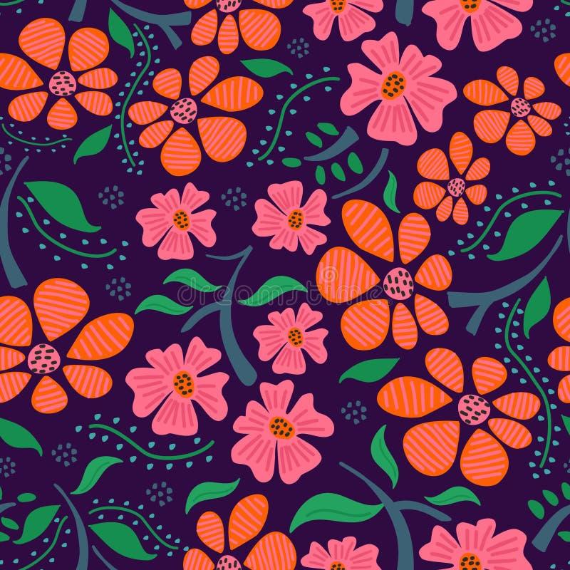 Feminine floral hand drawn seamless pattern on purple background vector illustration