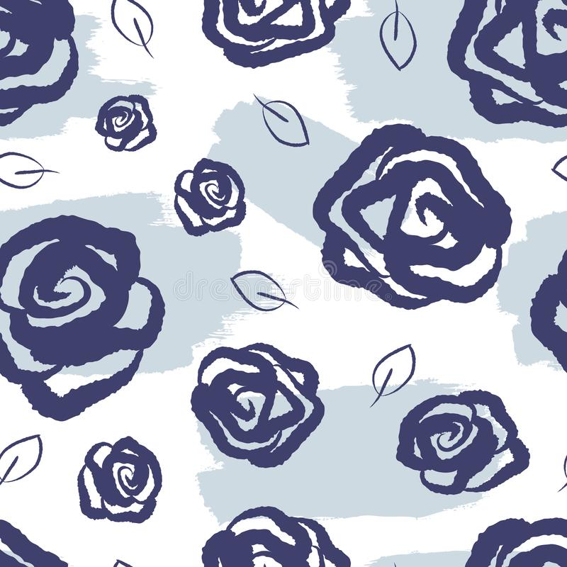 Feminine floral seamless pattern. Watercolor stains, roses and leaves drawn by hand. vector illustration