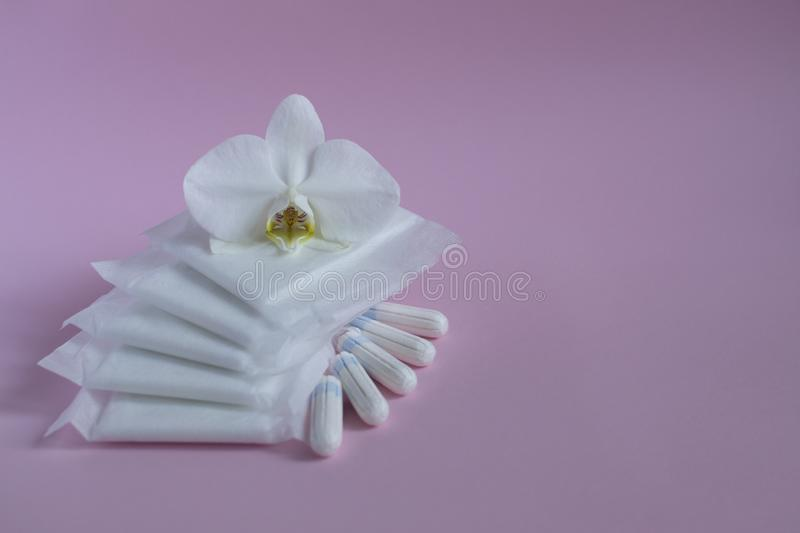 Women`s hygiene products stock photography