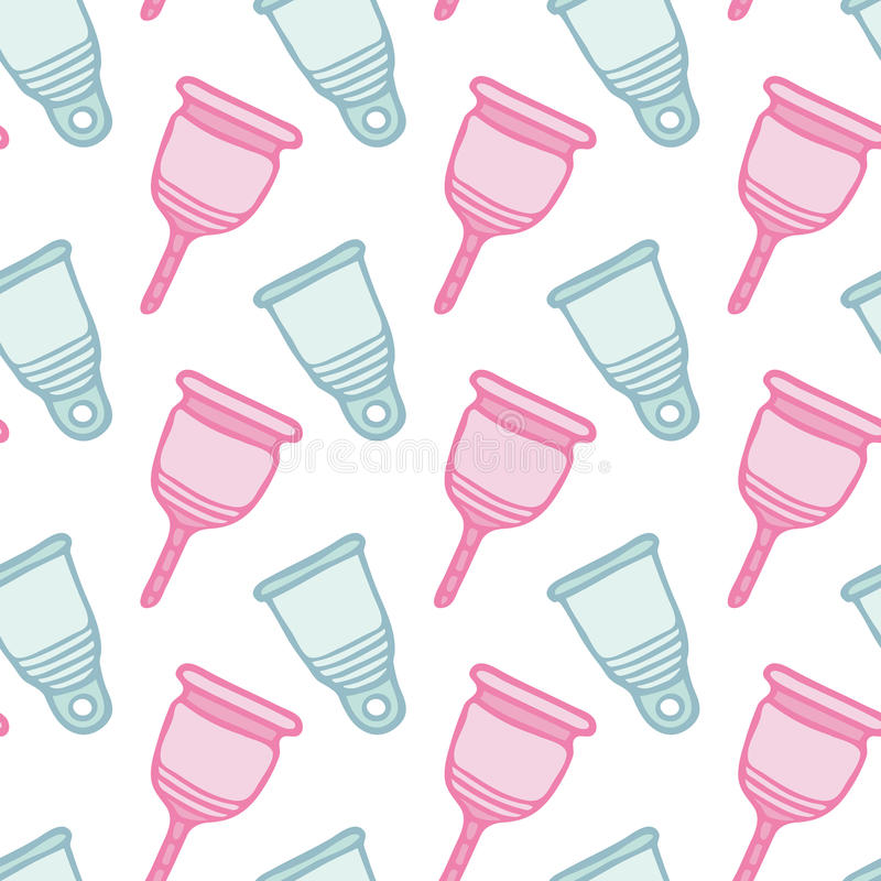 Feminine hygiene products sketch. Seamless pattern with hand-drawn cartoon icon - menstrual cup. Vector illustration - stock illustration