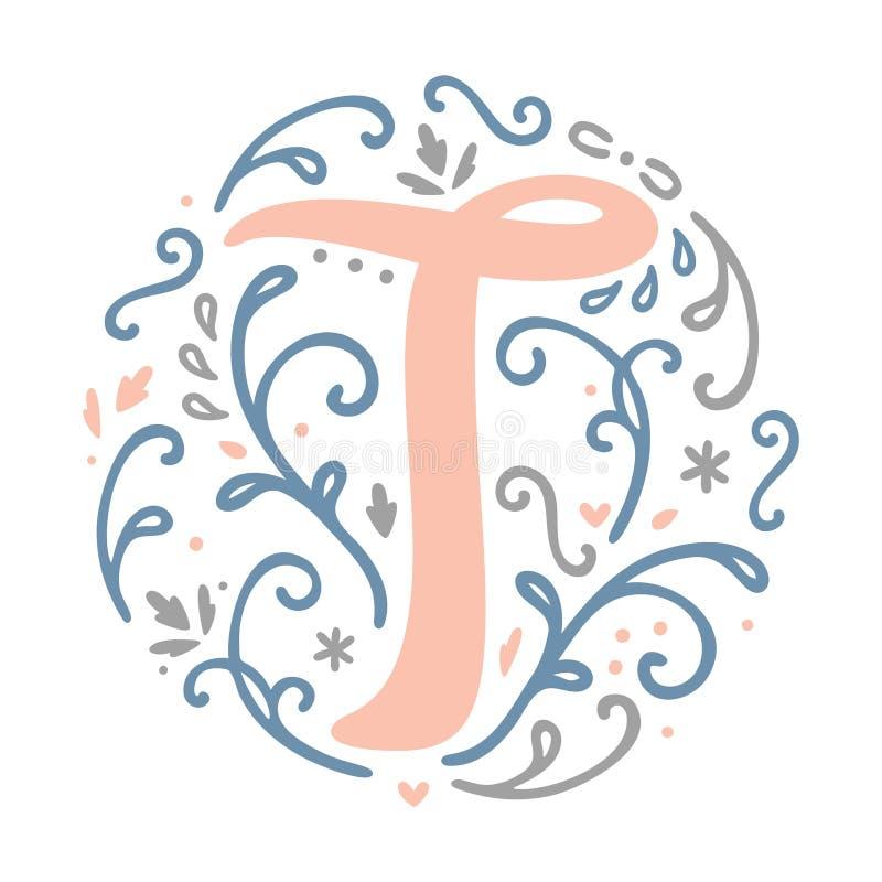 Feminine Monogram Design ` B ` Letter Alphabet