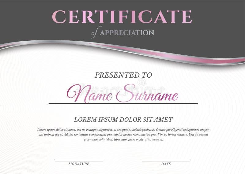 Feminine Pink and White Light Certificate Diploma Template voor Vrouw stock illustratie