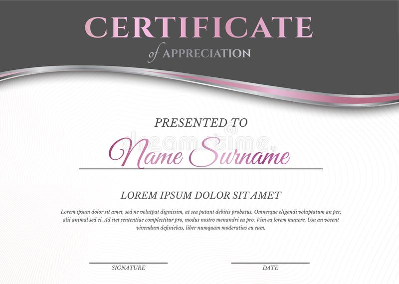 Feminine Pink and White Light Certificate Diploma Template for Woman stock illustration