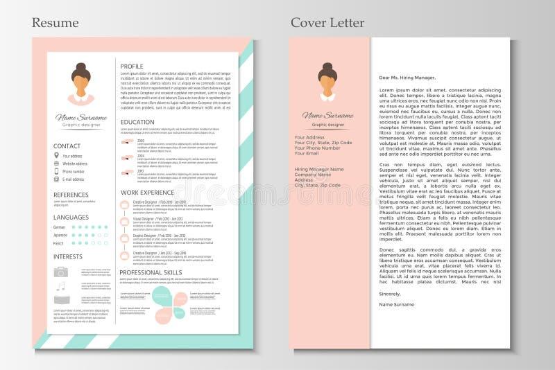 Feminine resume with infographic design. Stylish CV set for wome vector illustration