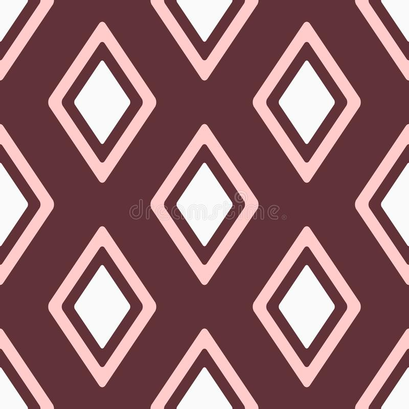 Feminine seamless pattern with repeating rhombuses. Simple geometric print for women. White, pink, brown. Vector illustration stock illustration