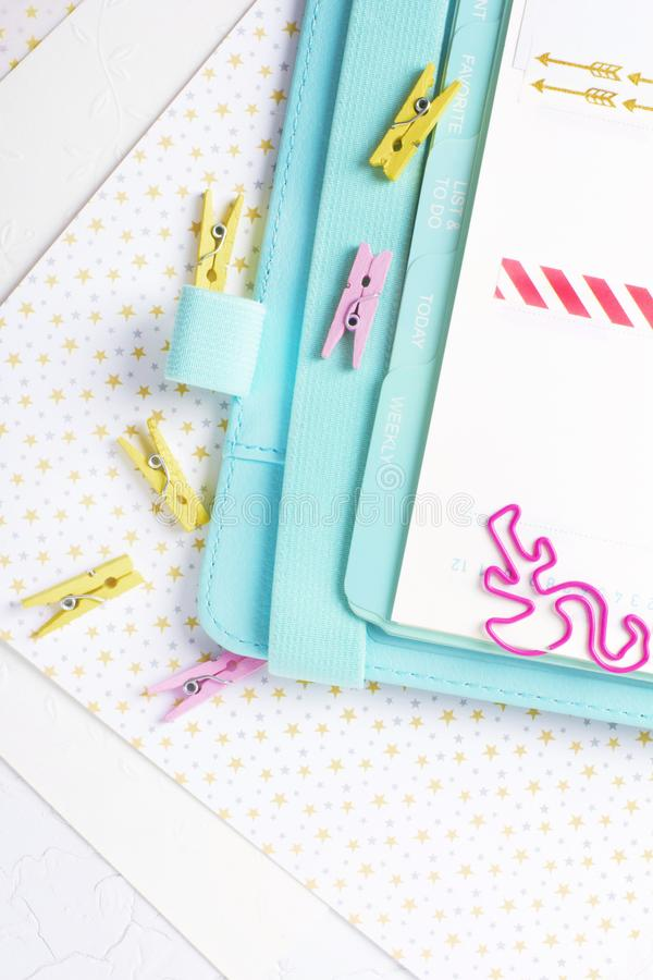 Feminine stationery: colorful paper binder clips palm and flamin stock photos