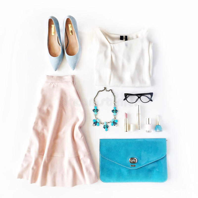 Feminine summer clothes and accessories collage on white background royalty free stock photos