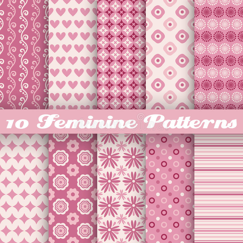 Feminine vector seamless patterns (tiling). Fond stock illustration