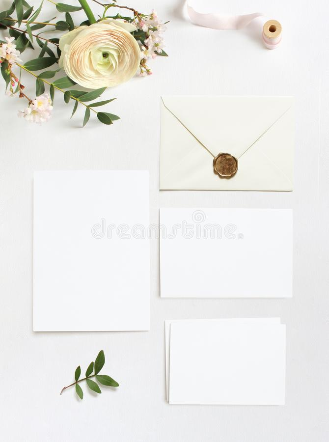 Feminine wedding, birthday desktop mock-ups. Blank greeting cards, envelope. Eucalyptus branches, pink cherry tree royalty free stock photos