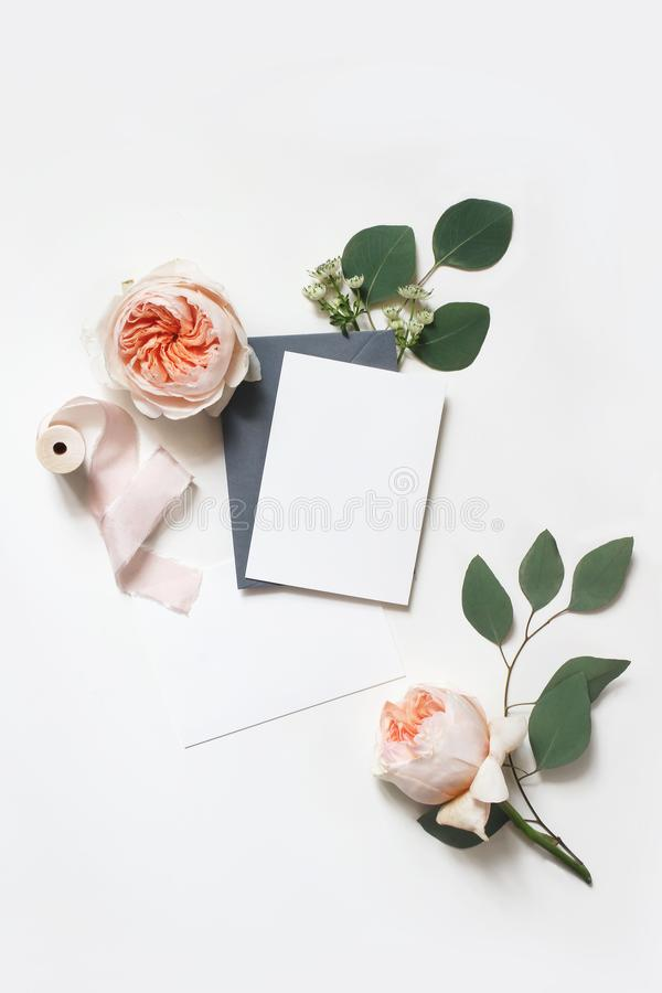 Feminine wedding, birthday mock-up scene. Blank paper greeting cards, envelope, silk ribbon, eucalyptus leaves and blush. Pink English roses flowers. White royalty free stock images