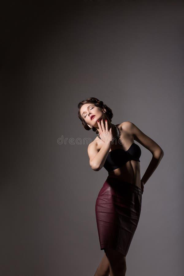 Download Femininity. Elegant Daydreaming Woman Posing In Studio Over Grey Background Stock Image - Image: 30583293