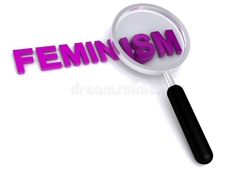 Feminism. 3d feminism text with magnifier on white background royalty free illustration