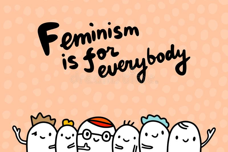 Feminism is for everybody hand drawn vector illustration in cartoon style minimalism. Group of people men together royalty free illustration