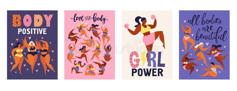 Feminism förkroppsligar positiva vertikala kort älskar till eget diagram, kvinnlig frihet, isolerad vektorillustration för flicka vektor illustrationer