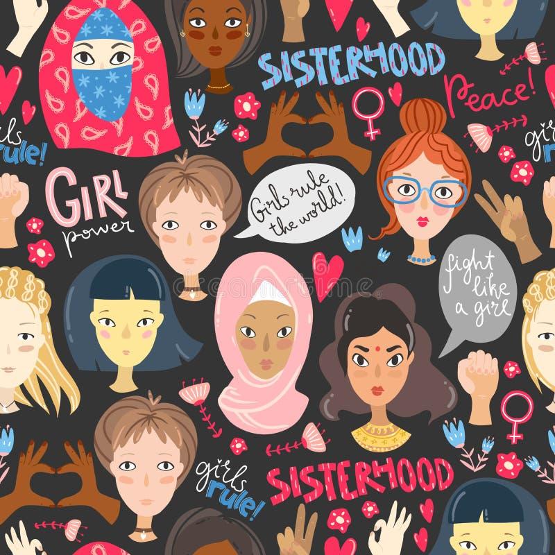 feminism Modèle sans couture avec des portraits de femmes et des sig du féminisme illustration libre de droits