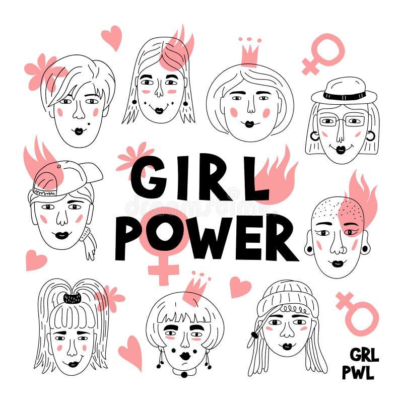 Feminism poster Girl power card. Women`s faces, Informal girls, Punk rock women Feminists. Creative hand-drawn royalty free illustration