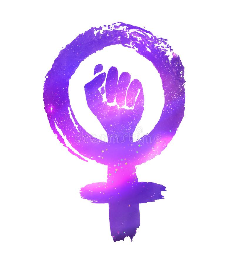 Feminism protest symbol with outer space. Feminism protest symbol with ultraviolet outer space inside royalty free illustration