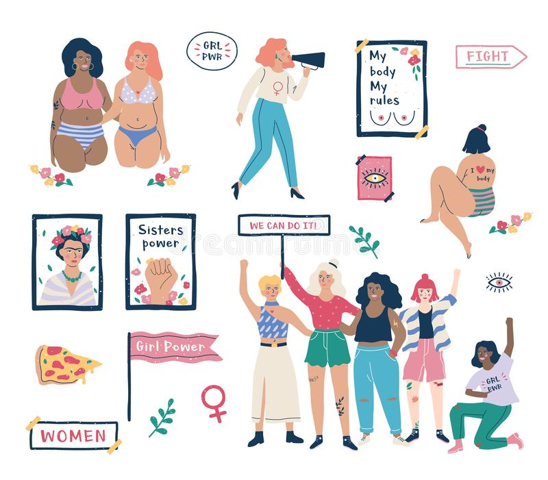 Feminism set. Idea of equal rights and body positive stock illustration